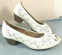 Spring Step Womens Shoes Peep Toe White Leather Low Heel Comfort Cut Out Wide