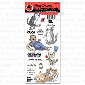 Funny CAT Ouch Set Clear Unmounted Rubber Stamp Set ART IMPRESSIONS 4933 New