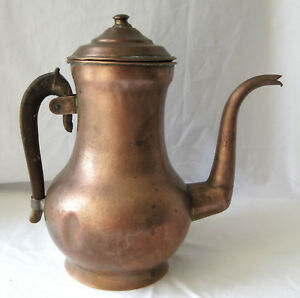 Antique Copper Pitcher With Wood Handle