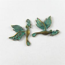 Green Bronze Alloy Mini Dove of Peace Charms Pendants Craft Finding 28pcs 51727
