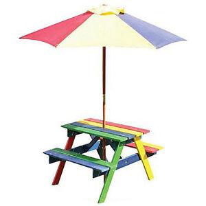 Children's Rainbow Wooden Garden Picnic Table Bench Parasol Set Kids