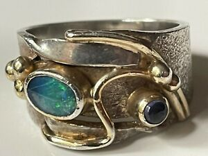 Vintage 70s sterling silver & fire opal/lapis ring 8.1g band size P 1/2 abstract