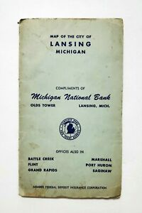 Vintage Map Of The Capital Lansing, Michigan, Compliments of MI National Bank