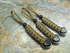 (3) COYOTE BROWN PARACORD NO CORE KNIFE LANYARD PULL GLOWTIP & SKULL