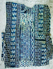 COLLECTIBLE SHIRT TEXTILE CLOTHING DANCE NDOP BLUE INDIGO COSTUME CAMEROON ETNIX