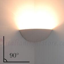 APPLIQUE LAMPADA PARETE ANGOLO CERAMICA BIANCA DESIGN COLORABILE VERNICIABILE