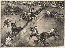 Goya Prints: The Bulls of Bordeaux: Bullfight in a divided ring: Fine Art Print