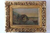 "19C Antique Artist Signed Oil Painting ""Sunset on the Italian Coast"" Seascape"