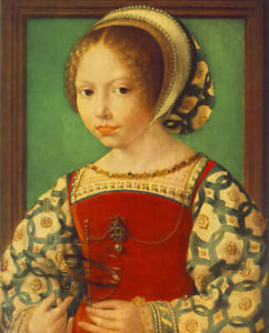 Oil painting jan gossaert (mabuse) - young girl with astronomic instrument art