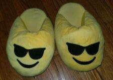 Big Kid Emoji Slippers Age 7-10 Yellow Foam Plush with Bottom Grippers