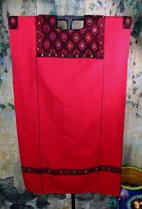 L/XL Size Huipil Dress Handwoven Red & Black Larrainzar Mayan Chiapas Mexico