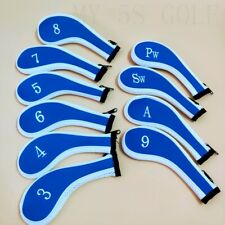 10Pcs Blue&White Long Zipper Golf Iron Headcovers Covers for Titleist Taylormade
