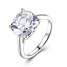 Sterling Silver 925 Engagement Party Ring Round 10x10mm 8.5ct Cubic Zirconia Hot