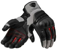 GUANTI GLOVE REV'IT DIRT 3 NERO ROSSO BLACK RED PELLE TOURING PROTEZIONI TG M
