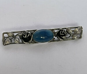 Vintage Sterling Silver Art Nouveau Style Turquoise Set Floral Pin Bar Brooch