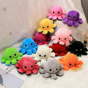 Plush Octopus Reversible Cute Flip Mood Soft Toy Gift Happy Sad Pink Blue Teddy