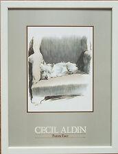 FUNNY FACE da CECIL ALDIN, telaio 12''x16'', 1986 stampa vintage, Carino Cane Stampe