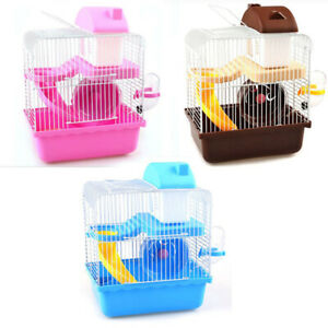 2 Tier Small Pet Hamster Cage Gerbil Mouse Degus Rat Castle Home House Fun Play