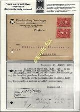 1923 GERMANY Commercial Reply Postcard used 2 x 200 MARK inflation issue