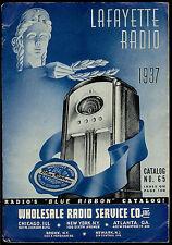 Super Rare Vintage 1937 Lafayette Radio Catalog Tubes Amps Mics & More