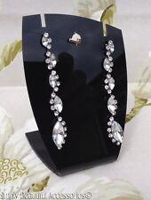 Impresionante cosecha Tono Plata Cristal Diamante Tear gota colgante pendientes perforados