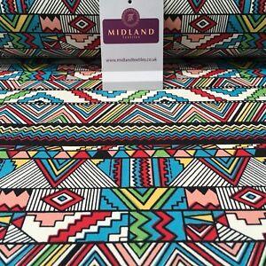 "100% Cotton Canvas Multicoloured Geometric Printed Craft Fabric 58"" Wide MK856-1"
