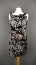 Karen Millen dress wiggle bodycon stretch drape swirl print brown black UK 14