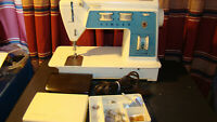 Vintage Singer model 756 Touch & Sew Sewing Machine w/ Foot Pedal,case, Extras