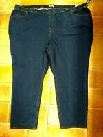 Catherines NWT Stretchy Knit Pull On Slimming Jeans Plus 5X 34W 36W Medium Blue