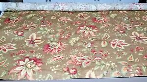"Raymond Waite Mill Creek sirius pecan floral fabric 55"" wide X 79"" long EC!"