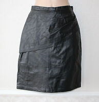 Black 100% Real Leather High Waist Knee Length Straight Ladies Skirt Size UK 6 8