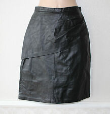 Women's Vintage High Waist Knee Length Straight Black 100% Leather Skirt UK6