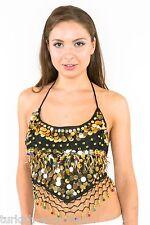 Color Perla De Gasa Para Danza Del Vientre Top Traje tazas de sujetador pequeñas a Talla Plus Nuevo Uk