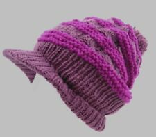 100% WOOL NEPALESE HANDMADE BAGGY RAINBOW WINTER PEAK BEANIE VISOR HAT [Purple]