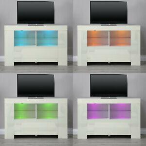 Modern 100cm TV Unit Cabinet TV Stand - Matt Body & High Gloss Doors LED Light