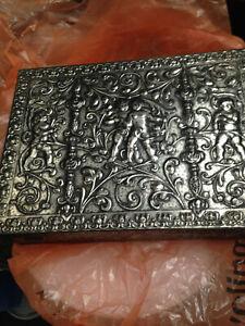 Vintage Cherub Embossed Metal Biscuit Tin
