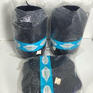 2+ Fixler Bros Dark Blue Quick Knit Sport Acrylic 9-Oz Barrels Yarn USA Vtg NOS