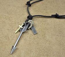 PN114 Mens Black Leather Surfer Beach Vintage Choker Necklace Arrow Pendant