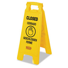 """Rubbermaid Commercial Multilingual """"Closed"""" Sign 2-Sided Plastic 11w x 1.5d x"""