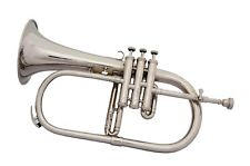 BRAND NEW Bb FLUGEL HORN  NICKEL PLATED WITH FREE HARD CASE MOUTHPIECE HOT SALE!