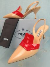 PRADA 1I270L BEIGE RED  PATENT LEATHER POINTED TOE SLINGBACK MULES PUMPS 39 IT