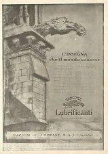 Y2546 Lubrificanti Gargoyle MOBILOIL - Pubblicità del 1922 - Old advertising