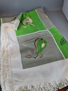 A Rectangular Vintage Mid-Century Printed Tablecloth - Apples Pears ,pop art