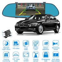 7'' 1080P Touch Dual Lens Car Rear View Mirror DVR Dash    era Night Vision
