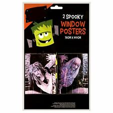 2 Pack Spooky Halloween Zombie Window Poster Creepy Scary House Party Decoration