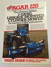 AGAR 220 3-Gang Cylinder Compact Tractor Mower Original 1980s/90s Sales Brochure