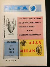 More details for 1969 european cup final ac milan v ajax very good condition original programme