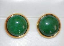 QUALITY CHINESE GREEN JADE ROUND DOME 12MM VINTAGE GENUINE 14K GF STUD EARRINGS