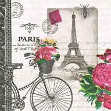 2 single paper napkin decoupage scrapbooking craft collection Bicycle Paris Text
