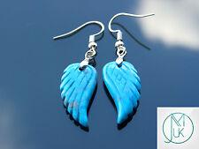 Azul Turquesa Ala de ángel Pendientes de Piedras Preciosas Cuarzo Chakra Piedra de Curación